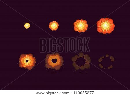Sprite Sheet For Cartoon Fire Explosion, Mobile, Flash Game Effect Animation. 8 Frames On Dark Backg