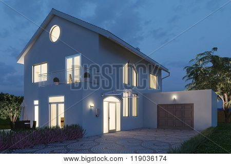 Single family home in the evening warmly lit (3D Rendering)
