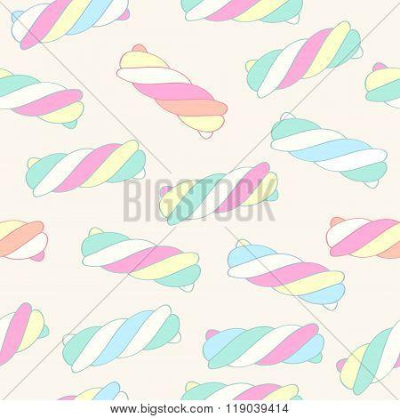 Marshmallow twists seamless pattern vector illustration.
