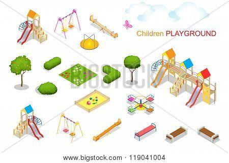 Children playground. Flat 3d isometric vector illustration for infographics. Swing carousel sandpit