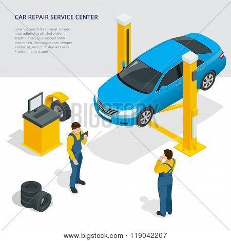 Car repair service center. Tire service flat set with shop car repair mechanics. Flat 3d isometric v