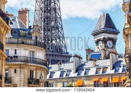 Paris rooftops against the backdrop of the Eiffel Tower