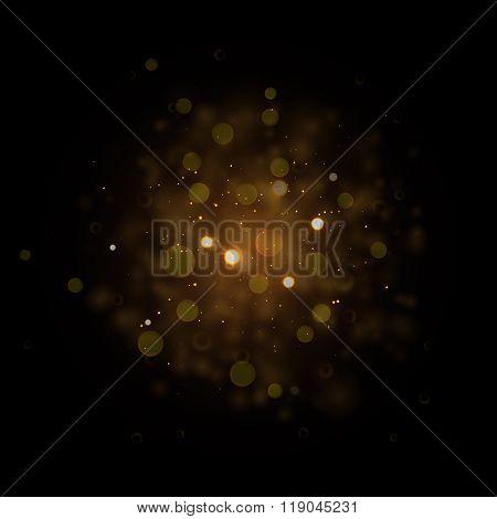 Defocused gold sparkle glitter lights background. Vector Glitter bokeh black background