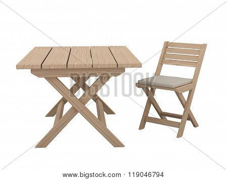 Wooden Folding Table And Chair.