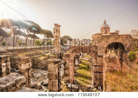 Famous Roman Ruins In Rome, Italy