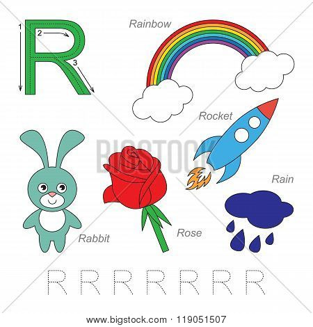 Tracing Worksheet for children. Full english alphabet from A to Z pictures for letter R the colorful version. poster