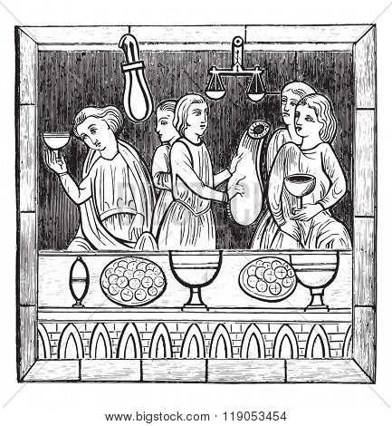A changer in the thirteenth century stained glass in the cathedral of Le Mans, vintage engraved illustration. Magasin Pittoresque 1880.