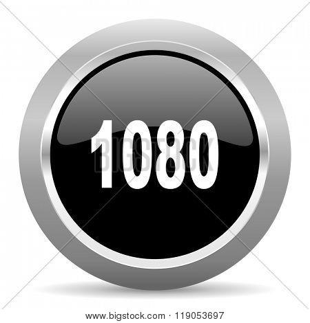 1080 black metallic chrome web circle glossy icon