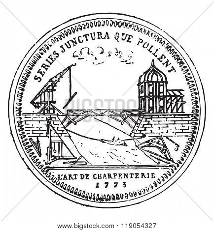 Token of the guild of carpenters Paris, eighteenth century, vintage engraved illustration. Magasin Pittoresque 1880.