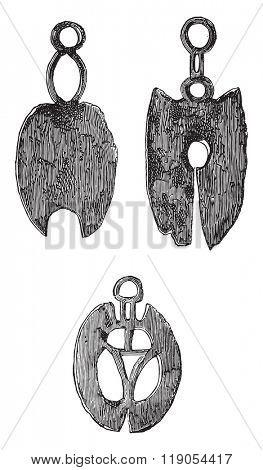 Gallic razors, Museum of Saint-Germain, vintage engraved illustration. Magasin Pittoresque 1880.