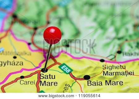 Satu Mare pinned on a map of Romania