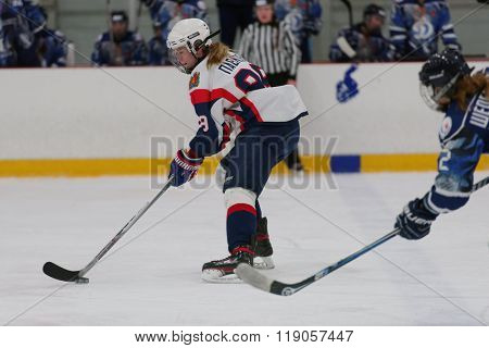 ST. PETERSBURG, RUSSIA - FEBRUARY 17, 2016: Valeria Pavlova of women's ice hockey team Biryusa Krasnoyarsk in the match against Dinamo Saint-Petersburg. Dinamo won the match 3-1