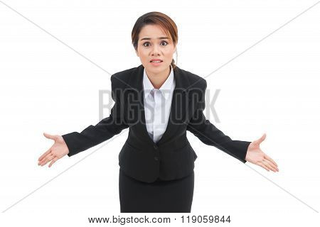 Dissatisfied Business Woman Isolated On White Background