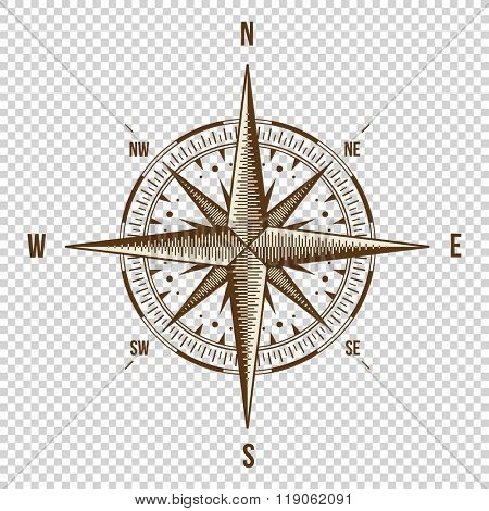 Vector Compass. High Quality Illustration. Old Style. West, East, North, South. Wind Rose Simple Style Isolated