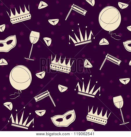 Purim attributes cheerful seamless pattern