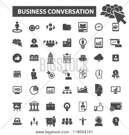 business conversation icons, business conversation logo, business icons vector, business flat illustration concept, business logo, business symbols set, business presentation, discussion