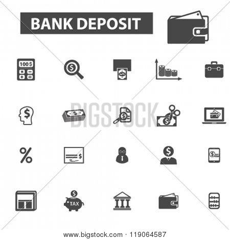 bank deposit icons, bank deposit logo, bank icons vector, bank flat illustration concept, bank infographics elements isolated on white background, bank  logo, bank symbols set, banking, money, deposit