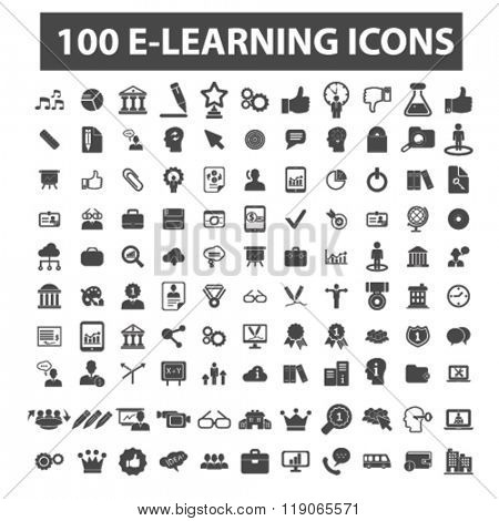 learning icons, learning logo, e-learning icons vector, e-learning flat illustration concept, e-learning infographics elements isolated on white background, e-learning logo, e-learning symbols set,