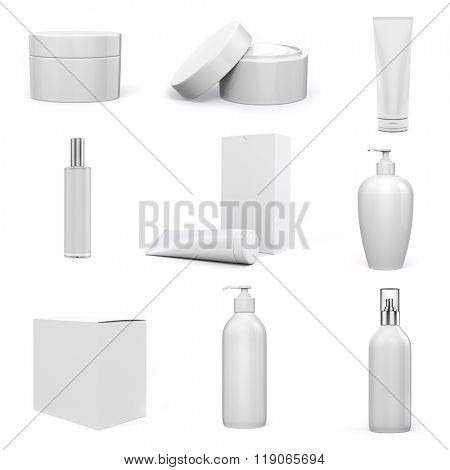 3d cosmetics pack on white background