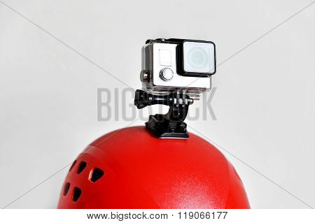 Action Camera On Red Sport Helmet