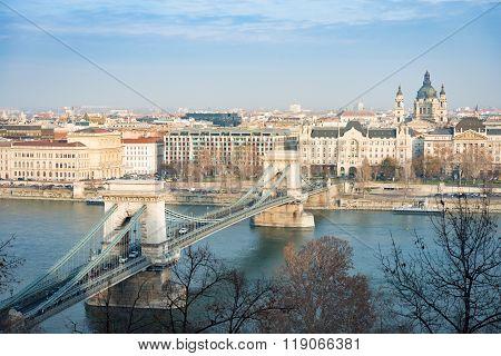Chain Bridge In Budapest, Hungary, Europe.