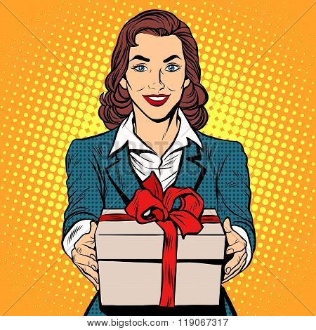 Business woman with gift box
