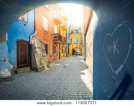 Old Town Street In Warsaw, Poland, Europe.