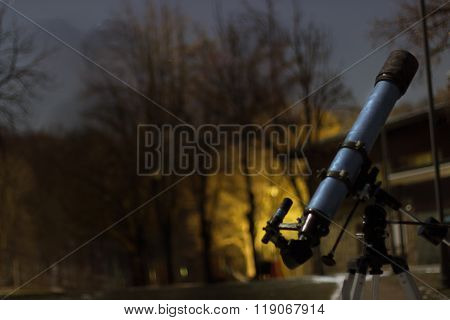 Telescope in night sky Winter edition frozen telescope Refractor Telescope