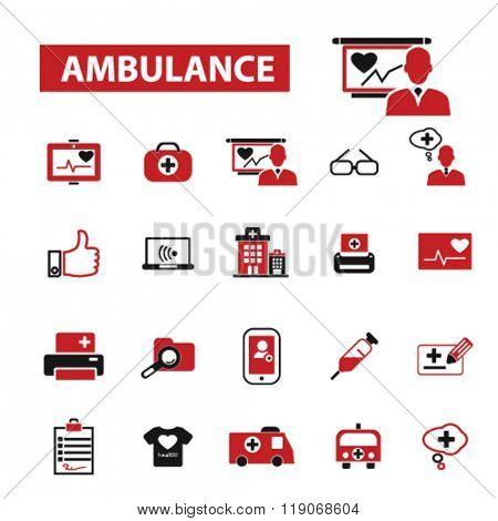 ambulance icons, emergency medicine icons, ambulance car vector