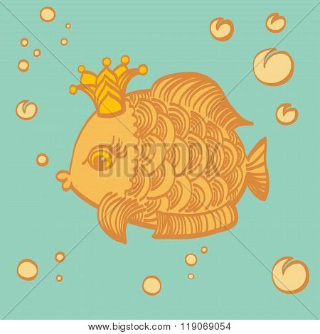 Gold Fish With A Crown In The Sea.