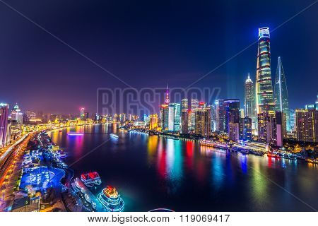 Shanghai Pudong Skyline at night, China