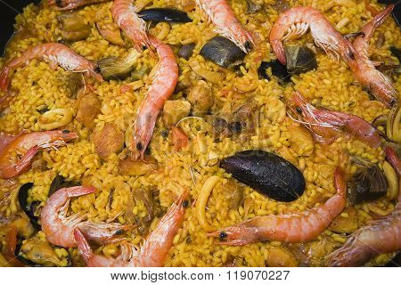 Paella with prawns and mussels typical Spanish dish