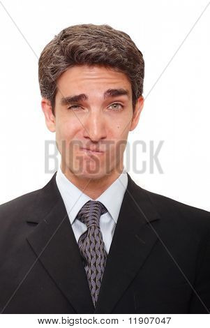 Businessman with silly facial expression