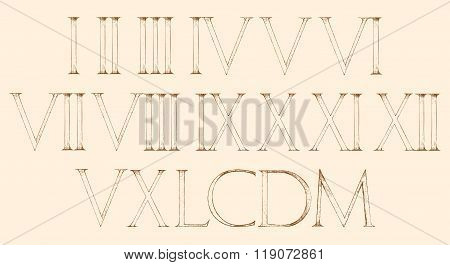 Roman Numbers Set. Modern Roman Classic Number