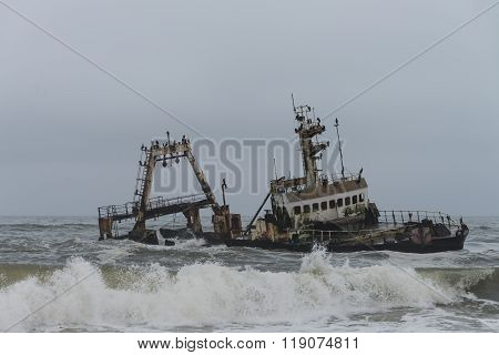 Shipwreck At The Skelleton Coast (namibia)