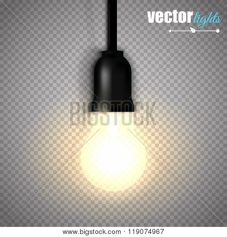 A Lit Light Bulb Isolated On Transparent Background. Vector