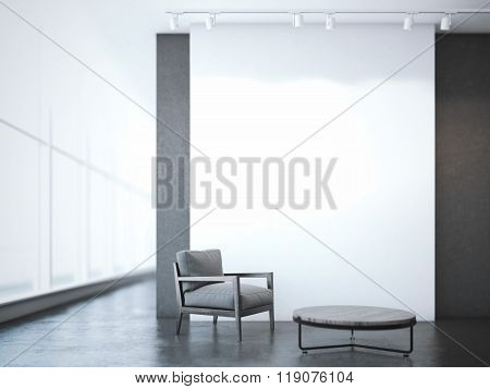 Office interior with table and armchair. 3d rendering