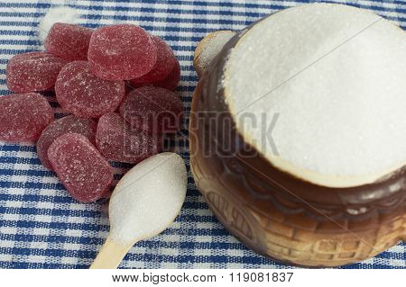 White sugar and sweets - marmalade.