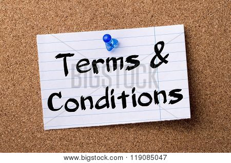 Terms & Conditions - Teared Note Paper Pinned On Bulletin Board