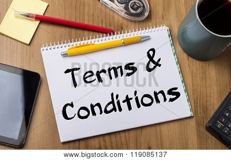 Terms & Conditions - Note Pad With Text
