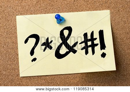 Swearing - Adhesive Label Pinned On Bulletin Board