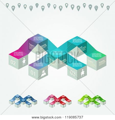 Vector FLAT colorful infographics for your business presentations. Can be used for info graphics, graphic or website layout vector, numbered banners, diagram, web design.