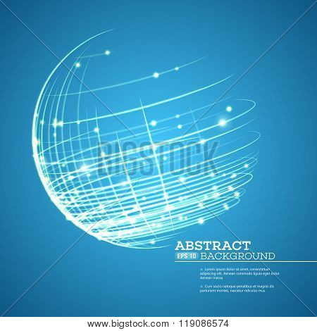 Point and curve constructed the sphere wireframe, technological sense abstract background. Vector il