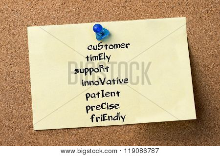 Customer Timely Support Innovative Patient Precise Friendly Service - Adhesive Label Pinned On Bulle