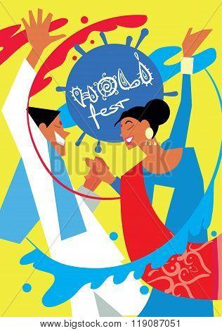 Holi people man and woman in traditional costumes. Holi background. Holi vector. Creative Flyer, Banner or Poster design of Traditional Indian festival Holi. Bengali New Year. Holi colorful illustration. Holi holiday. Holi celebration, Happy Holi.