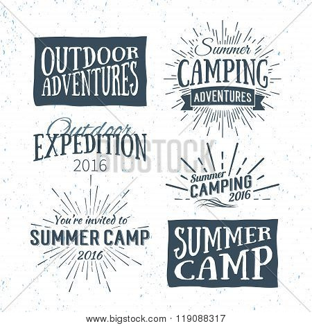 Vintage Summer Camp Badges And Outdoor Adventure Logos, Emblems And Labels. Camping Vector Typograph
