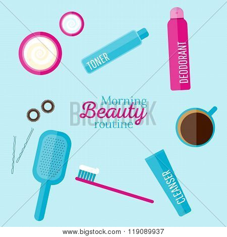 Vector Morning Beauty Routine Illustration Set In Flat Style
