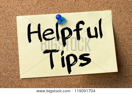 Helpful Tips - Adhesive Label Pinned On Bulletin Board