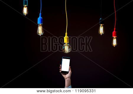 Lamps in colorful plafonds with smart phone