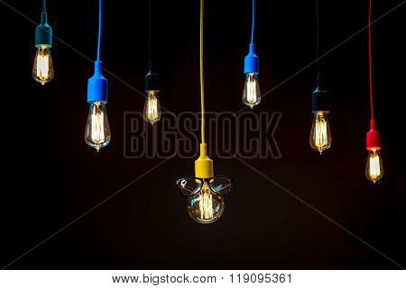 Lamps in colorful plafonds